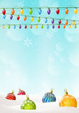 Christmas background with balls and light bulbs Stock Image