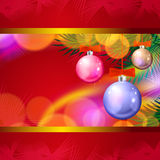 Christmas background with balls and lights Royalty Free Stock Photos
