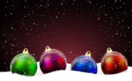 Christmas background with balls on the snow Royalty Free Stock Photography