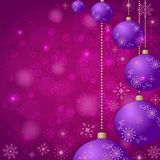 Christmas background with balls and snowflakes Stock Photography