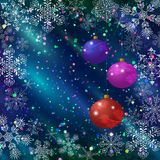 Christmas background with balls and snowflakes. Holiday Christmas background, colorful glass balls decoration, snowflakes and confetti on blue sky, illustration Stock Photos