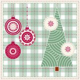 Christmas background with balls, snowflakes and a star, Modern xmas pattern. Embroidery stylization Stock Photo