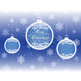 Christmas background with balls and snowflakes Royalty Free Stock Photography