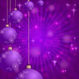Christmas background with balls and stars Stock Photos