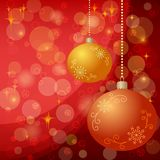 Christmas background with balls and stars Royalty Free Stock Photo
