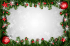 Christmas background. Background with Christmas balls and stars 3D illustration Stock Photos
