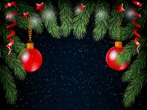 Christmas background with balls and tree fur. Royalty Free Stock Photo