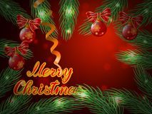 Christmas background with balls and tree . Christmas background with balls and tree on red Royalty Free Stock Photos