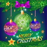 Christmas background with balls. Vector template for holiday cards Royalty Free Stock Images