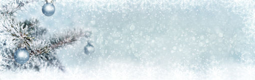 Christmas background, banner. Christmas background with baubles and fir, banner Royalty Free Stock Photo