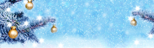 Christmas background, banner. With fir and baubles Royalty Free Stock Photography