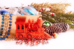 Christmas background with basket full of color balls Royalty Free Stock Photo