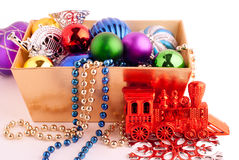 Christmas background with basket full of color balls Royalty Free Stock Image