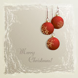 Christmas background with baubbles. Cristmas vintage background with hanging baubbles in frozen frame Royalty Free Stock Images