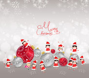 Christmas background with bauble, kids, snow and snowflakes Royalty Free Stock Photography