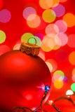 Christmas background with bauble and lights Stock Photo