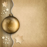 Christmas background - bauble, stars and blank space for text. Gold bauble, stars and blank space for text Stock Image