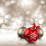 Christmas background with baubles. Christmas red and bronze baubles on shining background Stock Photo
