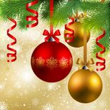 Christmas background with baubles. Christmas background with fir, red and golden baubles Royalty Free Stock Photography