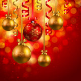 Christmas background with baubles. Christmas background with red and golden baubles Royalty Free Stock Photos