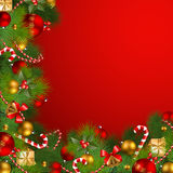 Christmas background with baubles. Christmas background with fir, red and golden baubles Stock Image