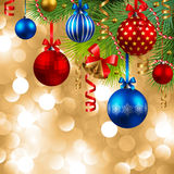Christmas background with baubles. Christmas background with fir, red, blue and golden baubles Stock Photos