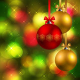 Christmas background with baubles. Christmas background with fir, red and golden baubles Stock Images