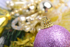 Christmas background with baubles and beauty bokeh, new year concept Stock Photo