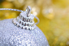 Christmas background with baubles and beauty bokeh, new year concept, closeup Royalty Free Stock Photos