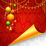 Christmas background with baubles and bell Royalty Free Stock Image