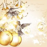 Christmas background with baubles and birds Royalty Free Stock Photos