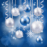 Christmas background with baubles in blue Royalty Free Stock Images