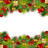 Christmas background with baubles and christmas tr