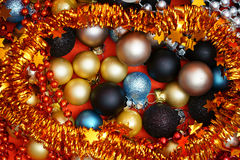 Christmas Background with Baubles. Colorful Christmas Background with many Christmas Baubles Stock Photos