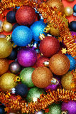 Christmas Background with Baubles. Colorful Christmas Background with many Christmas Baubles and Garland Stock Photography