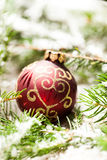 Christmas background with baubles and craft Stock Photography