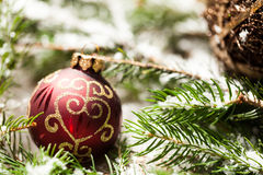 Christmas background with baubles and craft Stock Images