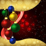 Christmas background with baubles on a dark red. Stock Photography