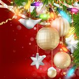 Christmas background with baubles. EPS 10 Stock Image
