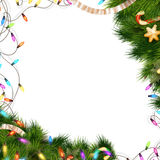 Christmas background with baubles. EPS 10. Christmas background with baubles and christmas tree. EPS 10 vector file included Royalty Free Stock Image