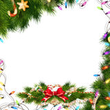 Christmas background with baubles. EPS 10. Christmas background with baubles and christmas tree. EPS 10 vector file included Stock Photography