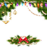 Christmas background with baubles. EPS 10. Christmas background with baubles and christmas tree. EPS 10 vector file included Royalty Free Stock Photos