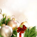 Christmas background with baubles, fir branches and clear space Royalty Free Stock Photo