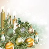 Christmas background with baubles and fir branches Royalty Free Stock Photos