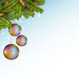 Christmas background with baubles and fir branches. Vector illustration Stock Photos