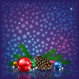 Star background with fir cones and baubles Stock Photos