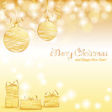Christmas background with baubles and gifts Royalty Free Stock Photos