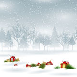 Christmas background with baubles and gifts Royalty Free Stock Photo