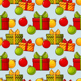 Christmas background with baubles and gifts. Vector seamless pat Royalty Free Stock Photos