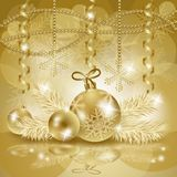 Christmas background with baubles in gold Royalty Free Stock Images